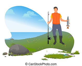 Man with Rod and Fish on it, Fishing Hobby on Lake