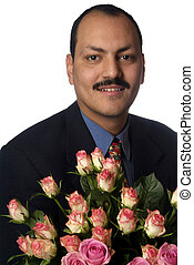 man with rose - a man is holding a bouquett with roses
