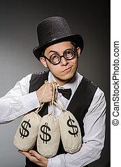 Man with sacks of money