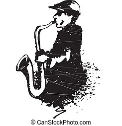 Man with saxophone - Vector illustration of hand draw Man...