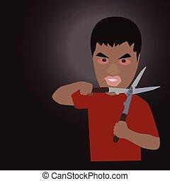 Man with scissors