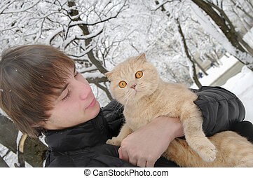 man with Scottish Fold cat