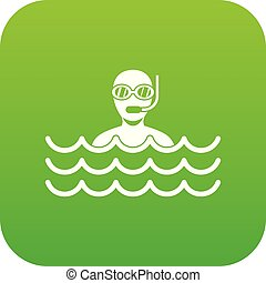 Man with scuba icon digital green