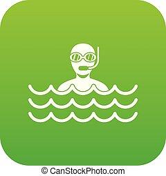 Man with scuba icon digital green