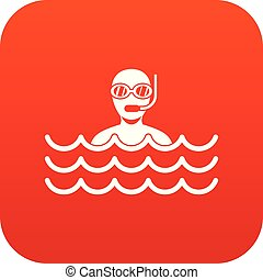 Man with scuba icon digital red