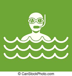 Man with scuba icon green