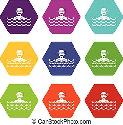 Man with scuba icon set color hexahedron