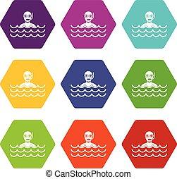 Man with scuba icon set color hexahedron