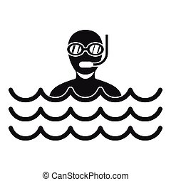Man with scuba icon, simple style