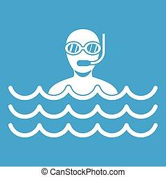 Man with scuba icon white