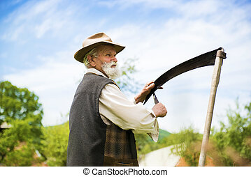 Man with scythe - Old farmer with beard sharpening his...