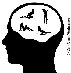 Man With Sexy Women On His Mind - A graphic of a man with...