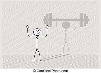 man with shadow dumbbell