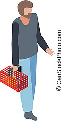 Man with shop basket icon, isometric style