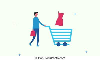 man with shopping cart and icons ,4k video animated