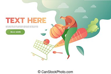 man with shopping cart full of groceries. isolated on white background. Vector illustration in flat style