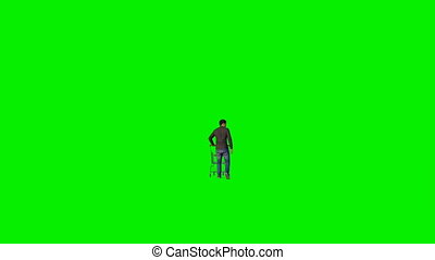 Man with shopping cart walking on Green Screen, Luma Matte...