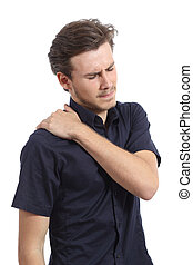 Man with shoulder pain and hand pressing it isolated on a...