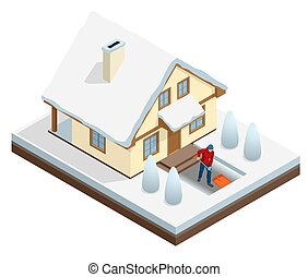 Man with shovel cleaning snow filled backyard outside his house. City after blizzard. House covered with snow. Isometric vector illustration.