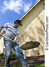 Man with shovel landscaping