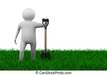 Man with shovel on grass. Isolated 3D image