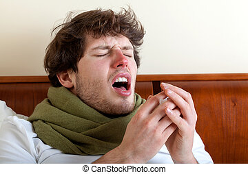 Man with sinus infection