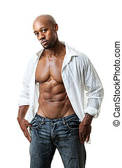 Man with Six Pack Abs - Toned and ripped lean muscle fitness...