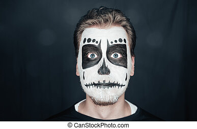 Man with skull art