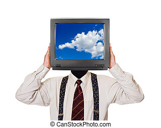 Man with sky tv screen for head