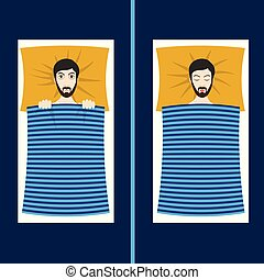 Man with sleep problems and insomnia symptoms versus good...