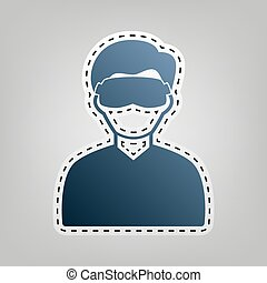 Man with sleeping mask sign. Vector. Blue icon with outline for cutting out at gray background.