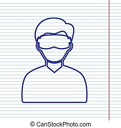 Man with sleeping mask sign. Vector. Navy line icon on notebook paper as background with red line for field.
