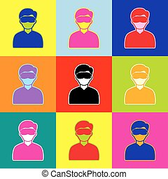 Man with sleeping mask sign. Vector. Pop-art style colorful icons set with 3 colors.