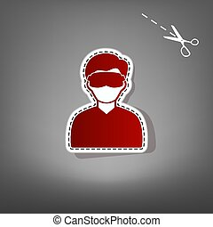 Man with sleeping mask sign. Vector. Red icon with for applique from paper with shadow on gray background with scissors.