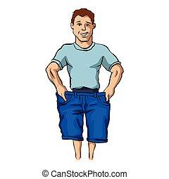 Man with slim body.vector illustration.