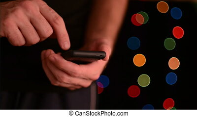Man with smart phone - Caucasian white male hands holding...