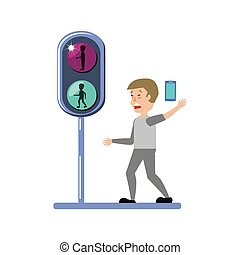 man with smartphone and traffic light