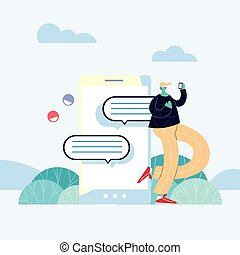 man with smartphone chatting, chat bubble