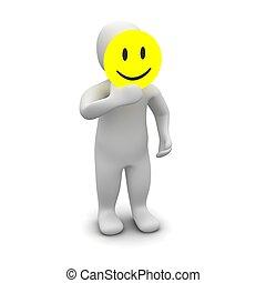 Man with smile mask. 3d rendered illustration.