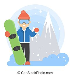 Man with snowboard.