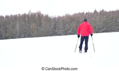 Man with snowshoes walk in snowy filed. Hiker in red winter jacket and black trekking trousers snowshoeing in powder snow. Cloudy winter day, gentle wind brings small snow flakes