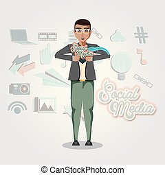 man with social media icons
