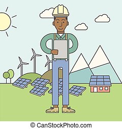 Man with solar panels and wind turbines.