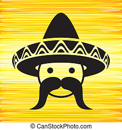 Man with sombrero - Black mexican face with sombrero on ...