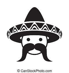 Man with sombrero - Black man face with sombrero and large...