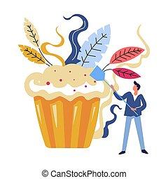 Man with spatula, professional chef baking big cake dessert
