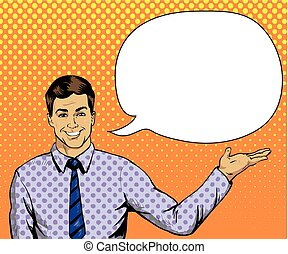 Man with speech bubble in retro pop art style. Comic vector illustration