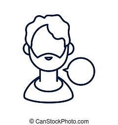 man with speech bubble , line style icon