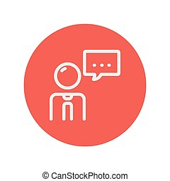 Man with speech bubble thin line icon