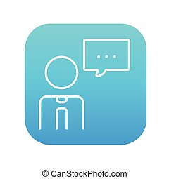 Man with speech square line icon.